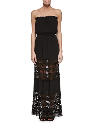 Charlotte Strapless Maxi Dress, Black