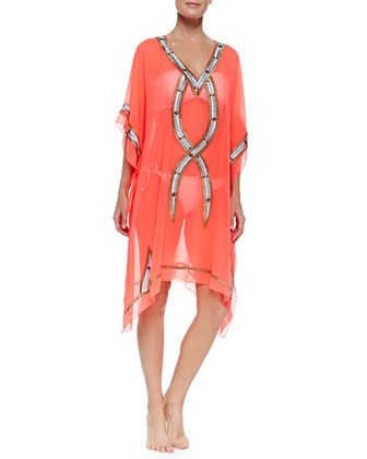 Kuna Bead-Trim Sheer Caftan Coverup