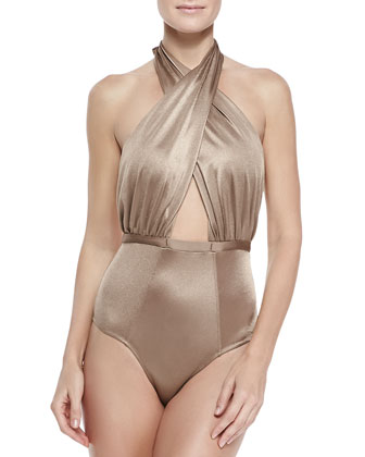 Cabana One-Piece Cross-Halter Swimsuit, Shimmer Nude
