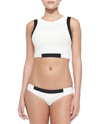 Jaida Cropped Contrast-Trim Rashguard/Adriana Bustier Contrast Swim Top & ...