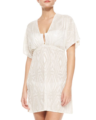 Paradise V-Neck Crochet Diamond-Print Tunic