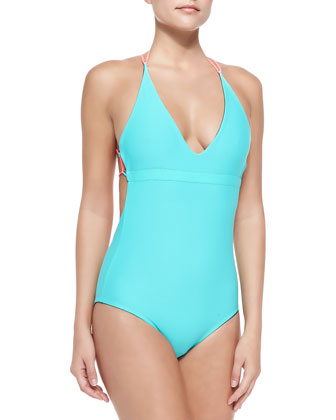 Tartane Reversible Braid-Strap One-Piece Swimsuit
