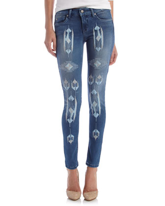 Embroidered Super Skinny Jeans