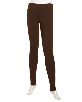 Skinny Scuba-Jersey Pants, Brown