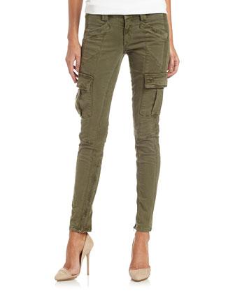 Skinny Cargo Pants, Olive