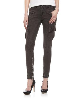 Twill Skinny Cargo Pants, Gray