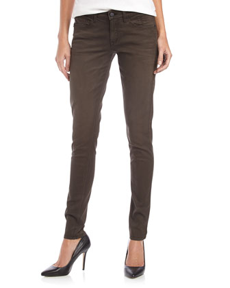 Coated Skinny Twill Jeans, Black