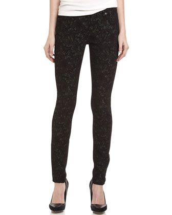 Gwenevere Jacquard-Print Skinny Jeans