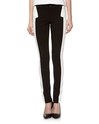Super Skinny Ponte-Faux Leather Pants