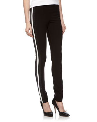 Faux Leather Striped Ponte Pants, Black