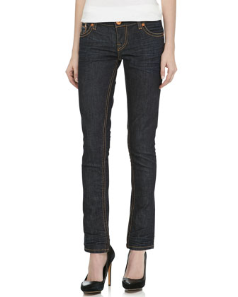 Avalon Skinny Cigarette-Leg Jeans, Dark Blue
