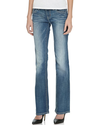 Fezzou Slim Boot-Cut Jean, Medium Blue