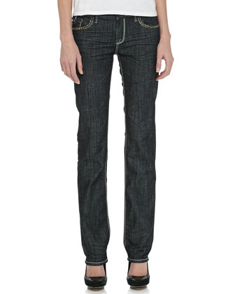 Wilshire Straight-Leg Jeans with Studded Detail, Blue