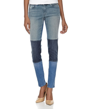Tri-Color Patchwork Slim-Fit Jeans, Medium Blue