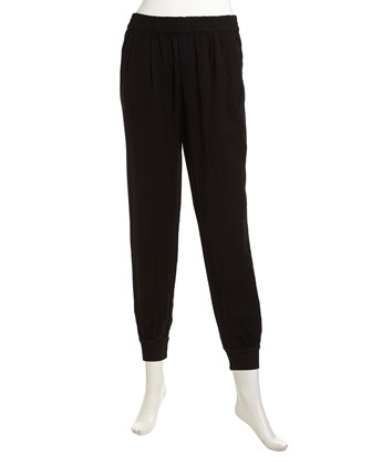 Shirred Soft Twill Slouch Pants, Black