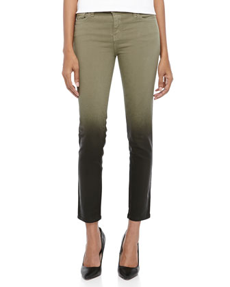 The Stiletto Ombre Coated Skinny Jeans, Dark Army