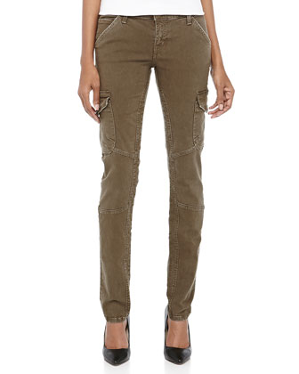 Skinny Twill Cargo Pants, Combat Green