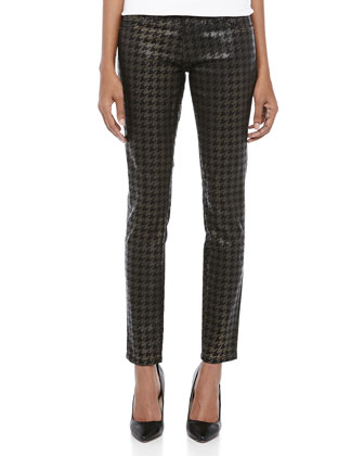 The Ankle Skinny Houndstooth Jeans, Black Foil