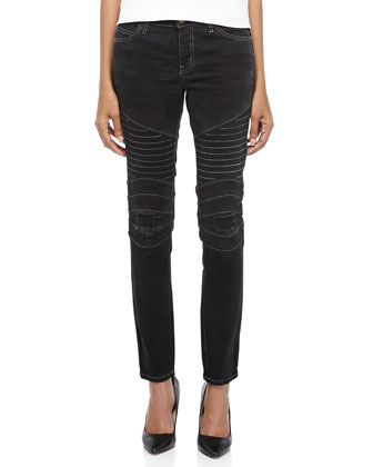 Drift Patchwork Moto Skinny Ankle Jeans