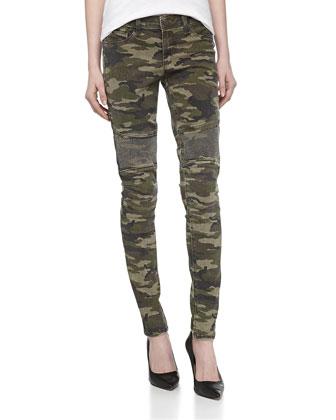 Camo-Print Skinny Pants w/Nailhead Studs, Green