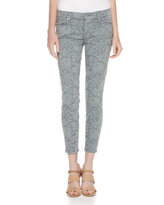 Tapestry Stretch Satin Jeans, Light Gray