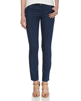 Pintuck Chambray Jeans, Dark Rinse