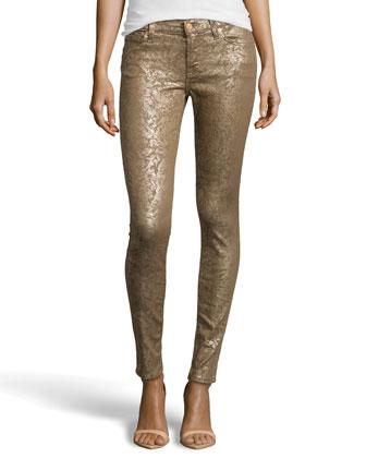 Gwenevere Gold Leaf Skinny Jeans, Gold Laser