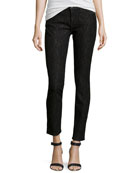 Slim-Fit Lace Stretch Jeans, Bonded Black