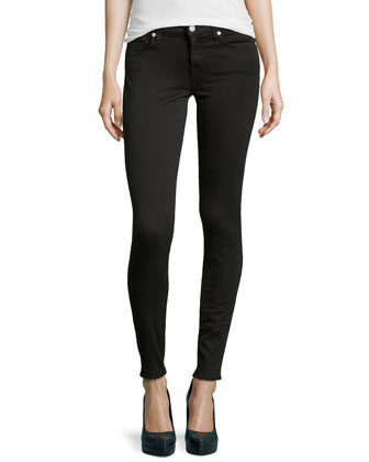 Gwenevere Skinny-Leg Twill Jeans, Black