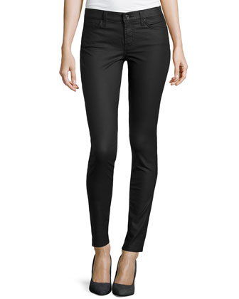 Gwenevere Coated Skinny Jeans, Black