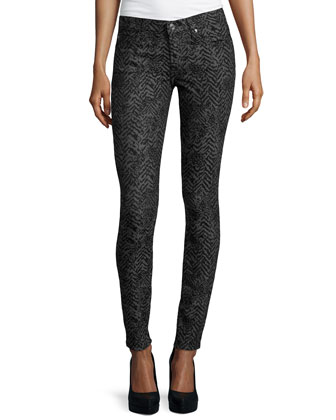 Gwenevere Chevron Skinny Jeans, Black/Gray