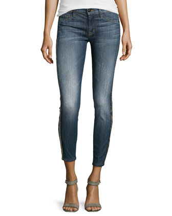 Embellished Medium-Wash Cropped Jeans, Glam