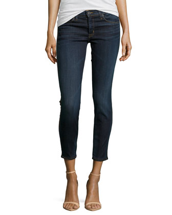 Perforated-Trim Stretch Jeans, Dark Wash