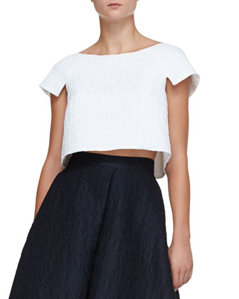 Sculpted Jacquard Crop Top and Jacquard Long A-Line Skirt