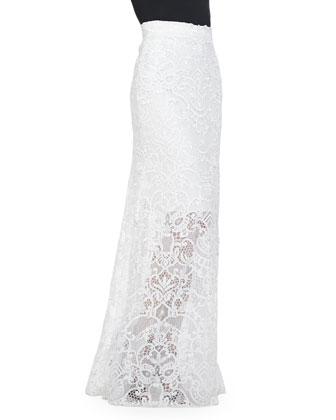Guipure Lace Overlay Skirt, White