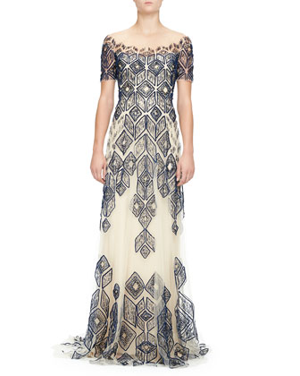 Short-Sleeve Deco-Embroidered Gown