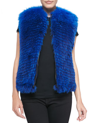Bright Fox Fur Zip Vest