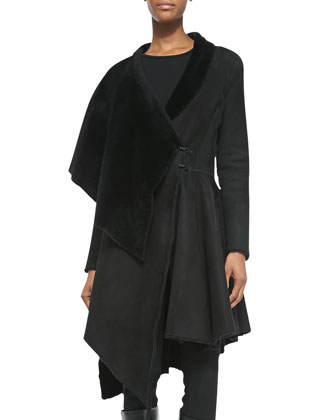 Sheepskin/Sheep Fur Asymmetric Draped Coat
