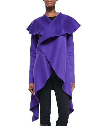 Cashmere Double-Faced Drape Coat, Violet