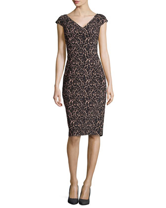 Lace-Print V-Neck Sheath Knee-Length Dress, Black/Nude