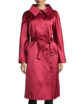 Wide-Collar Satin Trench Coat, Rose