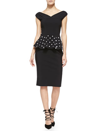 Mariarita Off-the-Shoulder Peplum Cocktail Dress