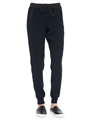 Cashmere Rib-Trim Loose Sweater & Pull-On Drawstring Jogger Pants