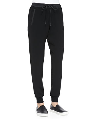 Pull-On Drawstring Jogging Pants, Black