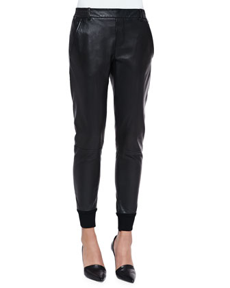 Long-Sleeve Silk Blouse & Knit-Cuff Leather Jogging Trousers