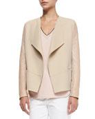 Leather-Sleeve Draped Wool Jacket, Cashew