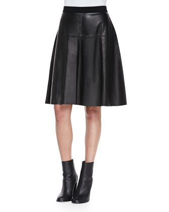 Grosgrain-Waist A-Line Leather Skirt