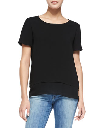 Layered-Hem Tee, Black