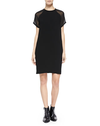 Sheer-Sleeve Loose Crepe Dress, Black