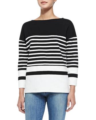 Nautical-Stripe Boat-Neck Top, Off White/Black